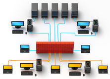 Network Traffic. 3D illustration of computer server network, protected behind a firewall, isolated in white background Stock Images