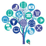Network tree. An illustration of a tree with various computer, communications, business and IT icons Stock Image