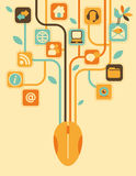Network Tree. Stylized tree, consisting of computer icons Royalty Free Stock Photo