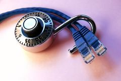 Network unlocked. With lock on cables Royalty Free Stock Image