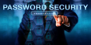 Network User Touching PASSWORD SECURITY Stock Photography