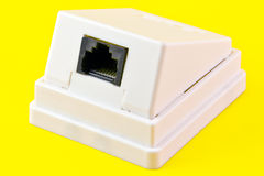 Network wall outlet. Isolated on yellow background Stock Photos