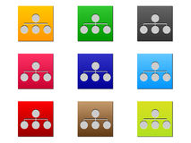 Network web buttons different colors Royalty Free Stock Photos