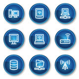 Network web icons, blue circle buttons Royalty Free Stock Photography