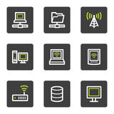 Network web icons, grey square buttons series. Vector web icons set. Easy to edit, scale and colorize Royalty Free Stock Photos