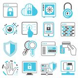 Network, web security icons. Collection of 16 network, web security icons Royalty Free Stock Photography
