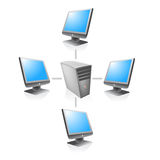 Network web server vector. Vectorial illustration of a local network connected by server computer Stock Images