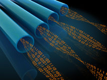 Network wires. Abstract 3d illustration of computer network wires with binary code Stock Image