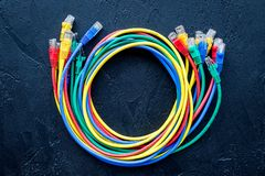 Network wires assorted colors with tips on black background top view Stock Photography