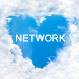 Network word cloud blue sky background only Stock Photos