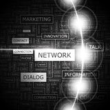 NETWORK. Word cloud illustration. Tag cloud concept collage Stock Images