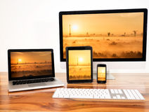 Networked computers. And mobile devices royalty free stock image