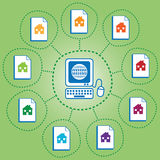Networked houses vector illustration