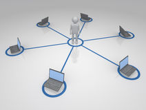 Networked Person. 3D figure connected to a network system of computers Royalty Free Stock Image