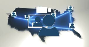 Networked video call within a map of the united states of america. Video call conference symbol animation network.