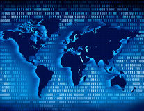 Networking. Binary world map ,networking concept Royalty Free Stock Photos
