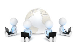 Networking. 3d little human characters X4 with Laptops. Blue illuminative Screens Stock Photos