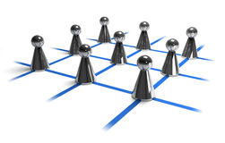 Networking. Nine playing piece on blue lines symbolizing persons connected in a network Stock Image