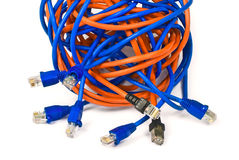 Networking. Rj45 connectors and ethernet cables knot Royalty Free Stock Image