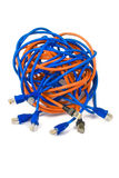 Networking. Rj45 connectors and ethernet cables knot royalty free stock images