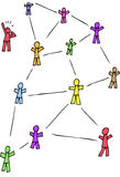 Networking. Cartoon stick figures representing someone being left out of the social network stock illustration