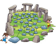 Networking. Children plays on interconnected rocks symbolizing system network Stock Images