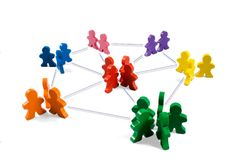 Networking. Business concepts illustrated with colorful wooden people - networking, organizational groups, or workgroups Stock Images