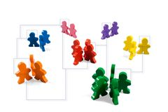 Networking. Business concepts illustrated with colorful wooden people - networking, organizational groups, or workgroups Royalty Free Stock Photos