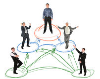 Networking Businessman Drawing Scheme On White Stock Photo