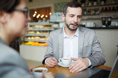Networking in cafe Royalty Free Stock Image
