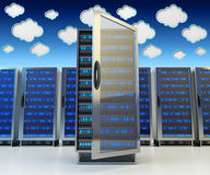 Networking communication technology and cloud data storage service concept Stock Photos
