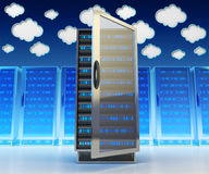 Networking communication technology and cloud data storage service concept. Network and internet telecommunication equipment in server room, data center with Royalty Free Stock Photo