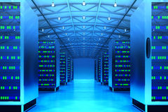 Networking communication technology concept. Network and internet telecommunication equipment in server room, data center interior with computers in blue light Stock Photo