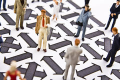 Networking Concept. Miniature figures with arrows showing a networking concept Stock Images