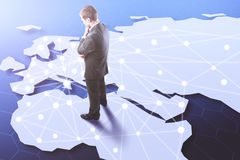 Networking concept. Businessman standing on map with connections. Networking concept. 3D Rendering Royalty Free Stock Photography