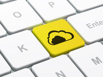 Networking concept: Cloud on computer keyboard background Stock Photography