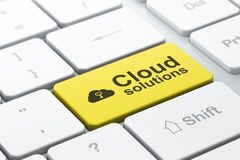 Networking concept: Cloud Whis Key and Cloud Solutions on comput Stock Photo