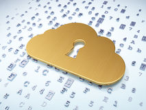 Networking concept: Golden Cloud With Keyhole on Royalty Free Stock Photos