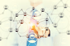 Networking and connection concept . Mixed media Royalty Free Stock Photos
