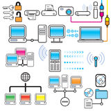 Networking, Connectivity & Technology Design Set vector illustration