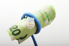 Networking costs. Money tied up in networking, Shallow DOF stock photography
