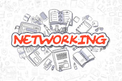 Networking - Doodle Red Word. Business Concept. Royalty Free Stock Photography