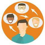 Networking flat design icon. Social network sign. Vector illustration Royalty Free Stock Images