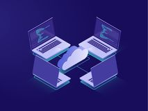 Networking with four laptops, internet connection, cloud data storage, server room, backup files, database remote access. Isometric illustration vector neon Stock Illustration