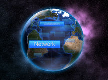 Networking and globalisation with space concept and colourful as background. Stock Photo