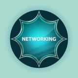 Networking guzika nieba błękita magiczny szklisty sunburst błękitny tło obraz stock
