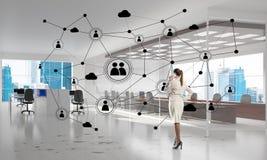 Networking i socjalny komunikacyjny pojęcie jak wydajnego punkt dla nowożytnego biznesu ilustracji