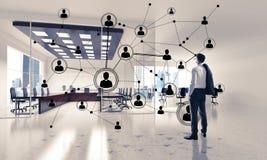 Networking i socjalny komunikacyjny pojęcie jako wydajny punkt f obrazy stock
