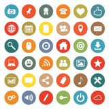 Networking icons. Set of 36 social media buttons icons  on white background. Rounded and colored buttons modern flat design Stock Photo