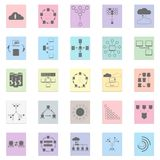 Networking infographics. Networking icon infographics in colorful buttons on white Royalty Free Stock Photography